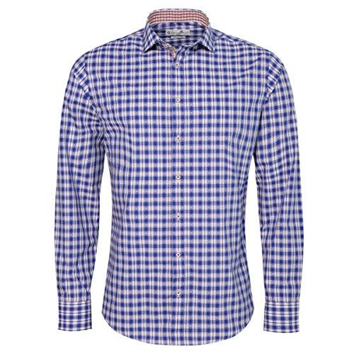 Gweih und Silk Trachtenhemd Body Fit Zenz Zweifarbig in Blau und Rot, Größe:L, Farbe:Blau