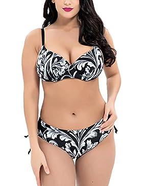 ShiFan Mujer Retro Estampados Cintura Alta Trajes De Baño Bikini Tallas Grandes