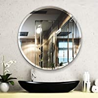 SEVEN HORSES Glass Wall Mirror (24 x 24 inch, White)