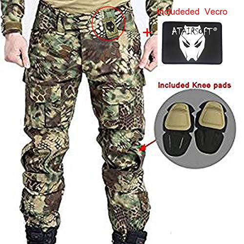 ATAIRSOFT Männer Kampfhose Armee Militärische Taktische Airsoft Paintball Schießen BDU Hose mit Knieschützern MR S -