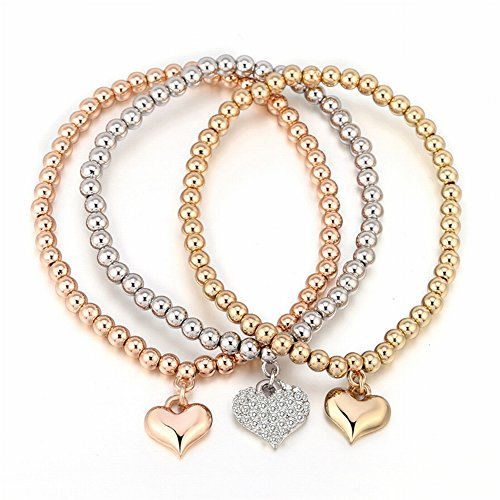 Dreidimensionale Pfirsich Herz Armband Perle Kette 3 Satz Herzförmigen Diamant Armband , Trikolore (Western Perlenketten)