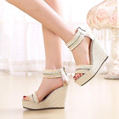 BaiLing Damen Sommer Sandalen / Wedge Heel handgefertigte gestrickte Stroh wasserdicht / römischen dicken Boden / kleine Größe Schuhe Beige QWD10PkUI1