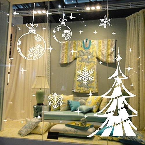 Weiße schneeflocke frohe weihnachten baum vinyl wandaufkleber glas fenster dekoration abziehbilder diy wohnkultur wandbilder abnehmbare (Baum Dekorationen Weihnachten)