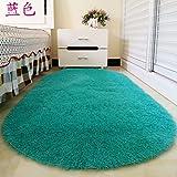 La preciosa alfombra oval felpudo hogar Salón mesa de café alfombras habitación cama dormitorio moqueta Mantas Cama 60*160,60x160cmlong, azul