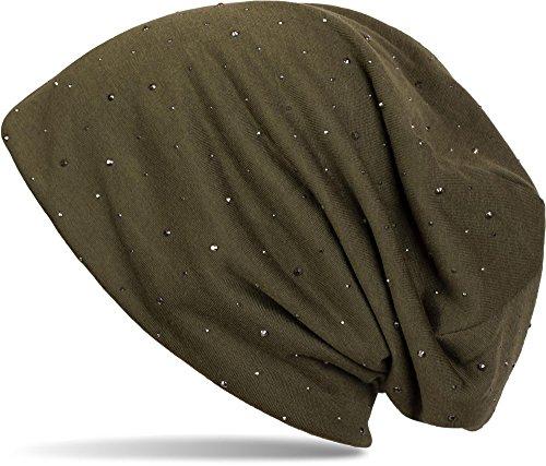 styleBREAKER klassische Beanie Mütze mit edler Strass-Nieten Applikation, Unisex 04024037, Farbe:Oliv