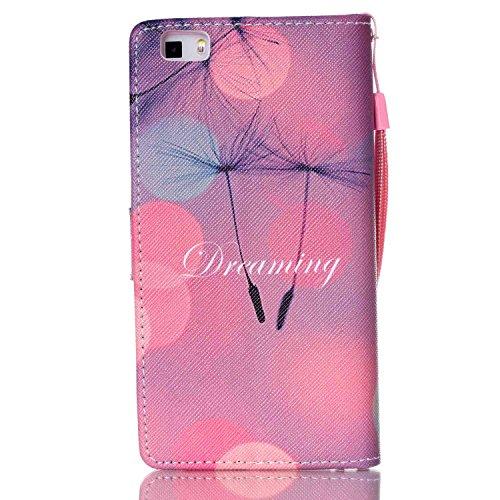 Meet de Huawei P8 Lite Bookstyle Étui Housse étui coque Case Cover smart flip cuir Case à rabat pour iPhone 4S Coque de protection Portefeuille - Dreaming