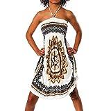 H112 Damen Sommer Aztec Bandeau Bunt Tuch Kleid Tuchkleid Strandkleid Neckholder, Farben:F-023 Beige;Größen:Einheitsgröße