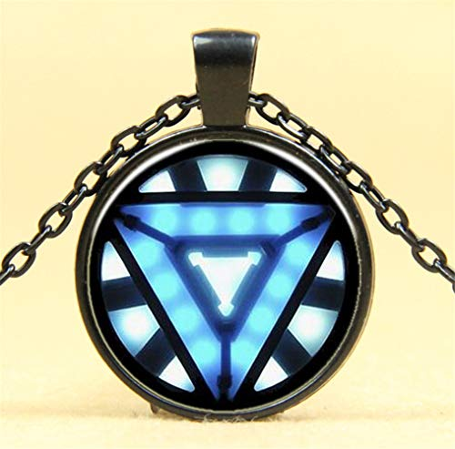 Iron Man Reactor Time Edelstein Glas Halskette Silber Pullover Kette C