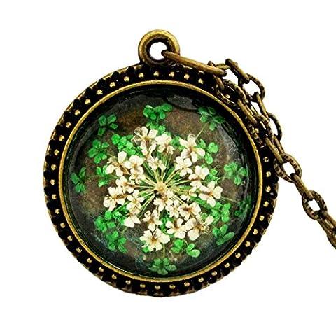 Miss Lovie Damen Vintage Echte Blüten Halskette mit Anhänger - 25x25mm Cabochon Bronze (Grün)