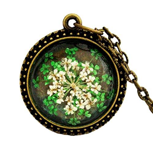 Miss Lovie Damen Kette Vintage Echte Blüten Halskette mit Anhänger Modeschmuck Schmuck - 25x25mm Cabochon Bronze Grün