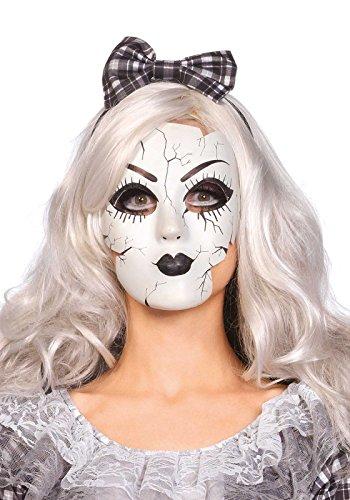 orzellanpuppe Maske - Einheitsgröße, weiß, Damen Karneval Halloween Kostüm Fasching ()