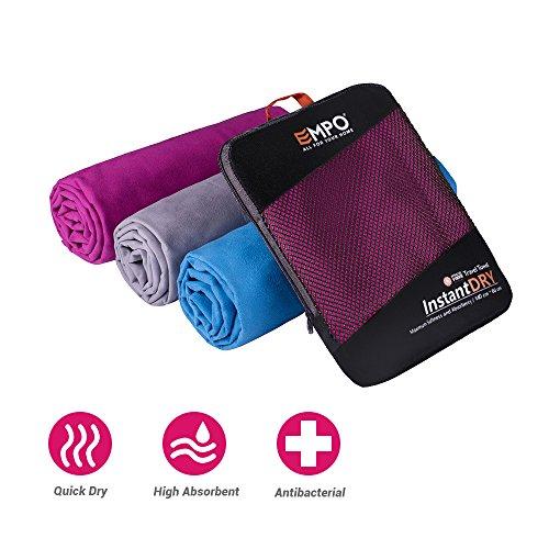EMPO Microfaser Handtuch groß 140cmx80cm Sporttuch - super absorbierendes und schnell trocknendes - perfekt für Reisen, Rucksacktours, Schwimmen, Strand, Bad oder zu Hause - Neues Paket - Violett