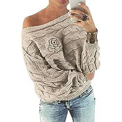 YOINS Pull Femme Sexy Manches Chauve-Souris Chandail Imprimé Aléatoire Floral Sweater Col Bateau Hiver, Kaki, S