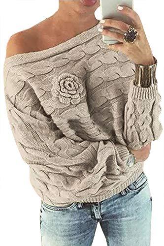 YOINS Pull Femme Sexy Manches Chauve-Souris Chandail Imprimé Aléatoire Floral Sweater Col Bateau Hiver Kaki XXL