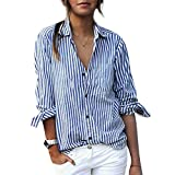 Womens Striped Blouse Casual Button Down Long Sleeve T Shirt Tops Blue