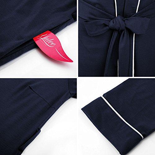 Yulee Femme Robe de chambre Longue Chaud Coton Bleu