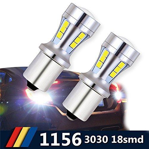 1156 BA15S LED Auto Ampoule 921 912 T10 T15 18-SMD Feu Recul/Feu Frein/Feu Direction Voiture Lampe Blanc DRL 6000K 12-24V (2 PCS)