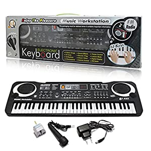 JJOnlineStore - FLASH SALES - Small Compact 61 Keys Music Electronic Keyboard Key Board Kids Gift Electric Piano Organ for Beginners with Microphone Mic UK Plug
