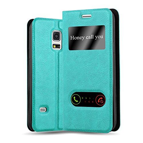 Preisvergleich Produktbild Cadorabo Hülle für Samsung Galaxy S5 / S5 NEO - Hülle in Mint TÜRKIS - Handyhülle im Standfunktion und 2 Fenstern (View Design) - Case Cover Schutzhülle Etui Tasche Book Klapp Style