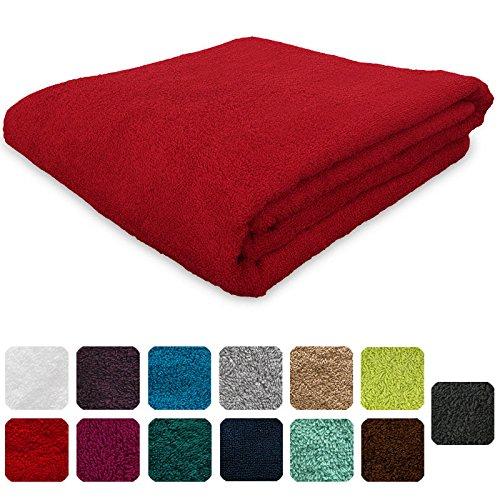 Lanudo Luxus Handtuch 600g/m² Pure Line 50x100 cm mit Bordüre.100% feinste Frottier Baumwolle in höchster Qualität, Farbe: Rot