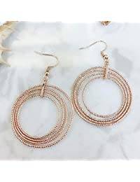 8a1e948f77c0 LOJBFD Pendientes de Oro Rosa de círculo Grande de Moda Pendientes  Colgantes de joyería de Las