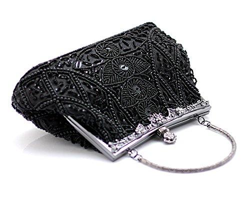 HONGCI Elegant Retro Perlen Damen & Ladies Clutch Bag, Abendtasche  Clutch Evening Bag  Bridal Bag  Wedding Clutch Tasche Handtasche Schwarz-L