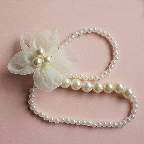 Unbekannt Exquisit Kleines Mädchen weiße Blume Kunststoff Perle simuliert Halskette Schmuck Sammlungen Charme Armband Perlen Halskette Kleinkind verkleiden Sich