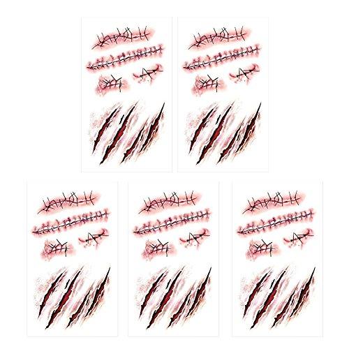 SpringPear 5X Temporär Horror Tattoo Aufkleber für Halloween Party Wasserfeste Tätowierung mit Realistische Wunde Blutspuren Narbe (5 Pcs RC-251)