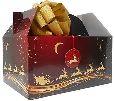 Giant Gable Box Geschenk-Set mit Seidenpapier, Pull Schleife und Geschenkanhänger–Rot/Gold Weihnachten (Weihnachten Gable Boxen)