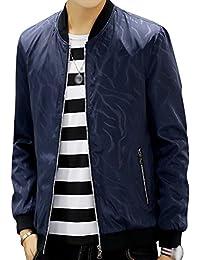 Veste Classique Blouson Bomber Zippé Manches Longues Jacket Rétro Homme Grande Taille