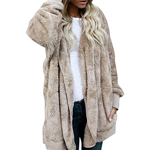LAEMILIA Women Girl Warm Cardigan Coat Reversible Fluffy Faux Fur Winter Fleece Hooded Sherpa Jacket