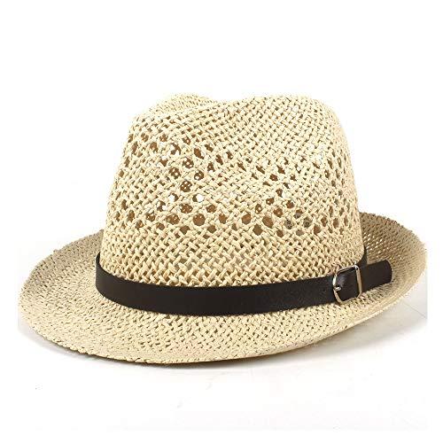 YUWEN 2019 Mode Unisex-Leder Sonnenhut Sommer Lady Panama Hut Herren Outdoor UV-Schutz Strand Sonnenhut Jazz Hut Gürtel (Farbe : Light Khaki, Größe : 56-58CM) -