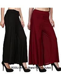 Rooliums Women's Cotton Palazzo (Pack of 2)