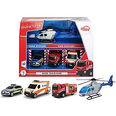 SOS Garagen Set 3 Fahrzeuge und 1 Hubschrauber Polizei Feuerwehr etc. • Garage Rettungsstation Auto Feuerwehrauto von Siehe Beschreibung