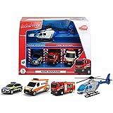 Unbekannt SOS Garagen Set 3 Fahrzeuge und 1 Hubschrauber Polizei Feuerwehr etc. • Garage Rettungsstation Auto Feuerwehrauto