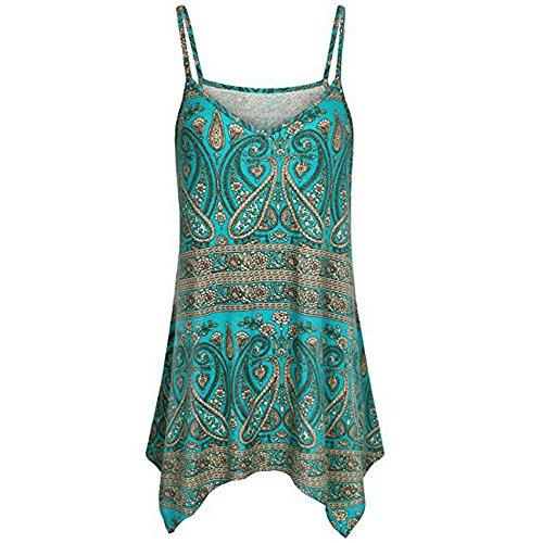 ❤HappyQn❤ Damen Sommer Ärmellos V-Ausschnitt Shirt Bluse Tops Spaghetti Strap Swing Tank T-Shirt Oberteile