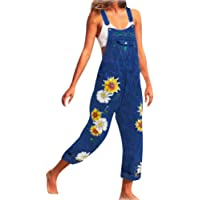 Onsoyours Women's Casual Loose Dungarees Denim Vintage Printed Baggy Jumpsuit Wide Leg Long Playsuit Bib and Brace Retro Sleeveless Jeans Overalls Trousers Pants Plus Size