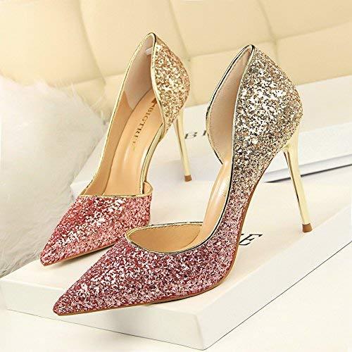LF Steigung einzelne Schuhe hohe Spitzen Stöckelschuhen fein mit Silber Hochzeit Schuhe,Pink,35