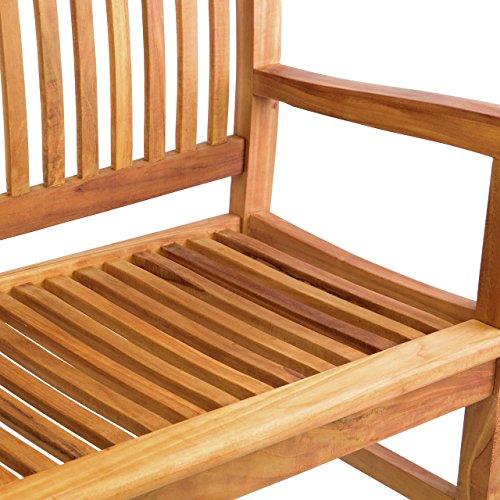 DIVERO 3-Sitzer Bank Holzbank Gartenbank Sitzbank 180 cm – zertifiziertes Teak-Holz behandelt hochwertig massiv – reine Handarbeit – wetterfest (Teak behandelt) - 2