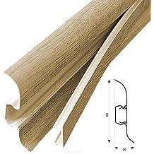 [neu.haus] Rodapiés PVC (30m x 6cm)(12 x 2,5 m)(roble claro) zócalo con pasacables listón laminado