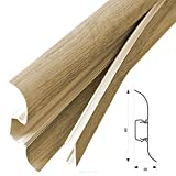 [neu.haus] PVC Sockelleiste (30m x 6cm)(12 x 2,5 m) - Eiche natur - mit Kabelkanal Fußleiste Laminatleiste aus PVC Kunstoff