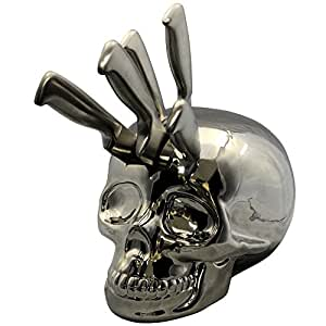 Skull Kitchen Knife Block, Silver Chrome: Amazon.co.uk