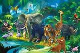 great-art Poster Kinderzimmer Dschungel Tiere Wandbild Dekoration Jungle Animales Zoo Natur Safari Adventure Tiger Löwe Elefant AFFE | Fotoposter Wandbild Wanddeko by 140 x 100 cm