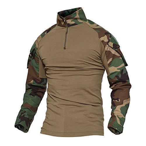 Magcomsen Herren Taktisch T-Shirt Militär Airsoft Tarnung Kampf Lange Hülse Shirts Mit Reißverschluss