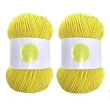 Ovillos de hilo amarillo para tejer ganchillo. House of Cecilia, 2 unidades de 100