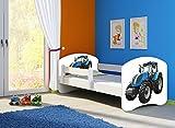 Clamaro 'Fantasia Weiß' 160 x 80 Kinderbett Set inkl. Matratze und Lattenrost, mit verstellbarem Rausfallschutz und Kantenschutzleisten, Design: 42 Traktor