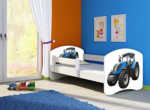 Clamaro 'Fantasia Weiß' 160 x 80 Kinderbett Set inkl. Matratze und Lattenrost, mit verstellbarem Rausfallschutz und Kantenschutzleisten, Design: 42 Traktor -
