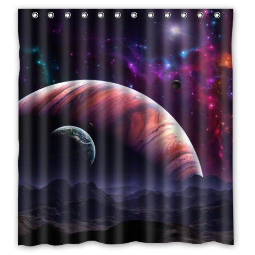 guolinadeou Waterproof Bathroom Fabric Shower Curtain, Nebula Galaxy Moon Space Planet Star Universe Art Print Design 60x72 IN Green Leopard Snap