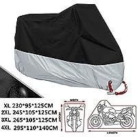 ANFTOP Funda Para Moto 190T Cubierta 4XL Impermeable Agujeros de la cerradura de Motocicleta Plateado y
