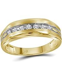 10 KT Bicolore Or jaune pour homme Diamant rond rainuré Alliance 1 4 carat  au bce144ad0b32